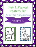 Sign Language Behavior Management Posters
