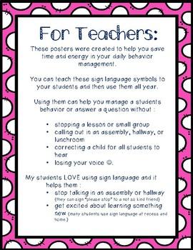 Sign Language Behavior Management Posters VOLUME 2