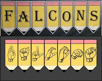 Bulletin Board: Sign Language Pencils - Alphabet in ASL (American Sign Language)