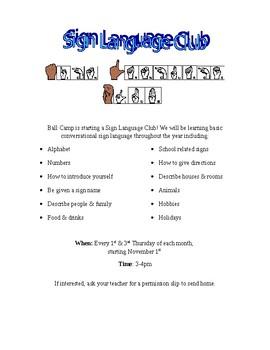 Sign Language Club Flyer