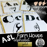 Sign Language Farmhouse Classroom Decor Alphabet GOLD