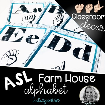 Sign Language Farmhouse Classroom Decor Alphabet turquoise
