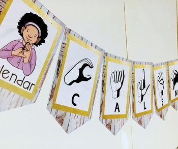 Sign Language Farmhouse Classroom Decor Banners GOLD