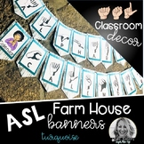 Sign Language Farmhouse Classroom Decor Banners Turquoise
