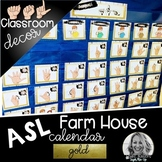 Sign Language Farmhouse Classroom Decor Calendar GOLD