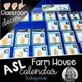 Sign Language Farmhouse Classroom Decor Calendar turquoise