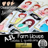 Sign Language Farmhouse Classroom Decor Colors and Questions GOLD