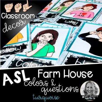 Sign Language Farmhouse Classroom Decor Colors and Questions turquoise