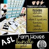 Sign Language Farmhouse Classroom Decor Gold BUNDLE