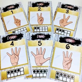 Sign Language Farmhouse Classroom Decor Numbers GOLD