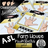 Sign Language Farmhouse Classroom Decor Numbers GOLD