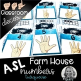 Sign Language Farmhouse Classroom Decor Numbers turquoise