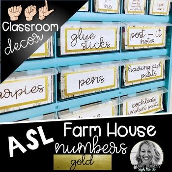 Sign Language Farmhouse Classroom Decor Toolbox GOLD