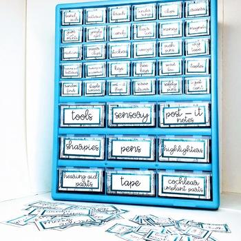 Sign Language Farmhouse Classroom Decor Toolbox turquoise