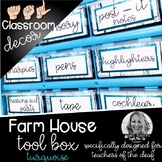 Sign Language Farmhouse Classroom Decor Toolbox turquoise