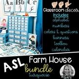 Sign Language Farmhouse Classroom Decor Turquoise BUNDLE