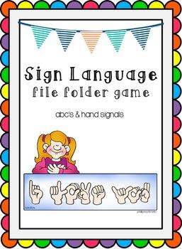Sign Language File Folder Game
