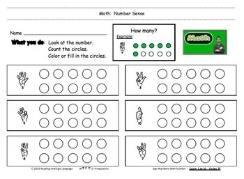DHH Math with Sign Language Number Font   Counting - Coloring Circles   10 pgs
