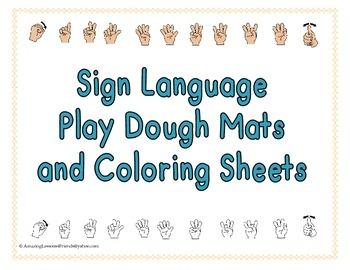 sign language play dough mats and coloring sheets