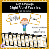 ASL Sign Language Sight Word Puzzles PRE- PRIMER