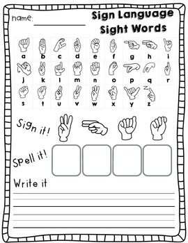 Sign Language Sight Words: Kindergarten