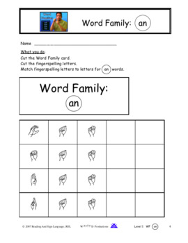 Sign Language  Word Family  | an |  9 pages - Video
