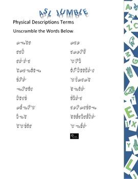 Sign Language (ASL) Word Jumble (26 puzzles)