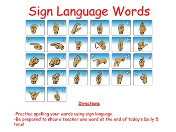 Sign Language Word Work