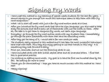 Fry Words Meet Sign Language Flashcards