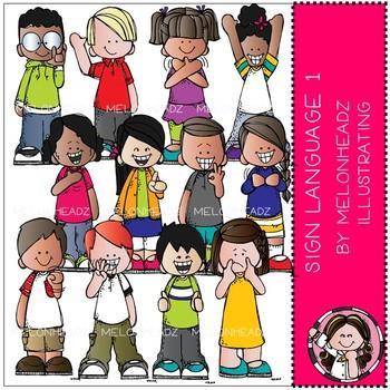 Sign Language clip art - COMBO PACK - Melonheadz Clipart