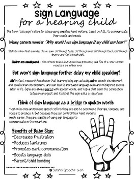 Sign Language For A Hearing Child Parent Friendly Handout For Early Intervention