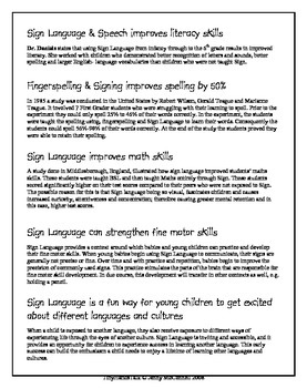 ASL for All Children - The Benefits