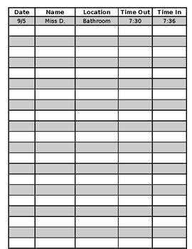 Editable Sign Out Sheet