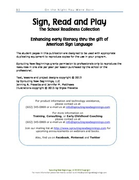 ASL Lesson Plan - On the Night You Were Born, a Sign, Read and Play Lesson