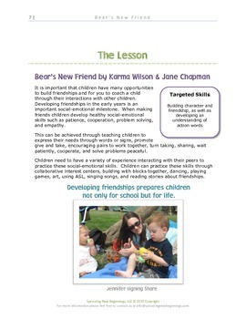 ASL Lesson Plan - Bear's New Friend - A Sign, Read and Play