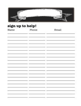 Sign Up Sheet Freebie