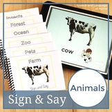 Sign and Say Animals Print or No Print Vocabulary Cards