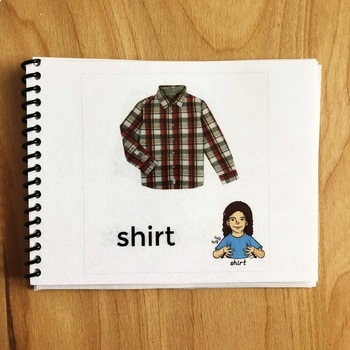 Sign and Say Clothes Print or No Print Vocabulary Cards
