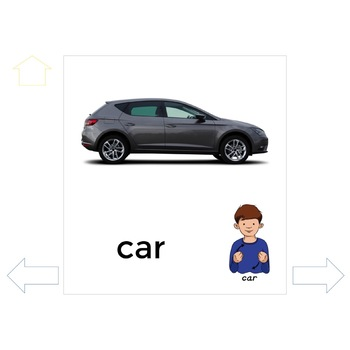 Sign and Say Home and Transportation Print or No Print Vocabulary Cards
