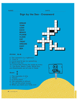 Sign by the Sea (long e sound - ea words) - use for Language Arts & ESL & SEL