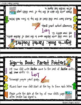 Sign-in Name Book Parent Visual Instructions / Guidelines Page and Table Teepee