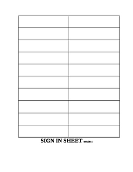 Sign in Sheet