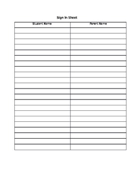 Sign in Sheet for Parent Teacher Conferences