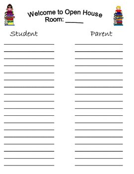 Sign in sheets open house back to school night by for Back to school sign in sheet template