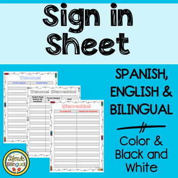 Sign in sheet - English, Spanish and bilingual options