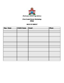 Sign in sheet for parent meetings/workshops