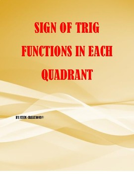 Sign of each Trig function in each quadrant