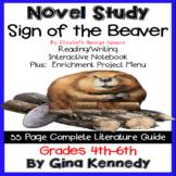Sign of the Beaver Novel Study & Enrichment Project Menu; Digital Option