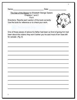 Sign of the Beaver Novel Study Bundle