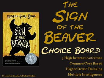 Sign of the Beaver Choice Board Novel Study Activities Menu Book Project